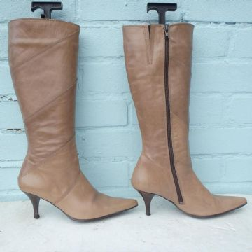Next Leather Beige Boots Sz Uk 3.5 Eur 36 Womens Brown Boots Christmas